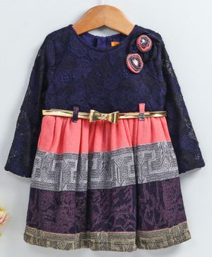 Yellow Duck Flower Embroidered Full Sleeves Dress - Navy Blue
