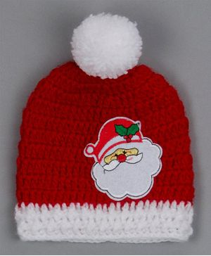 Buttercup from KnittingNani Santa Applique Pom Pom Detailed Cap - Red