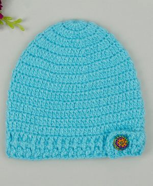 Buttercup from KnittingNani Fancy Button Detailed Cap - Light Blue