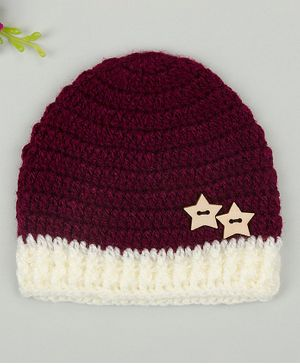 Buttercup from KnittingNani Cap With Star Buttons - Maroon