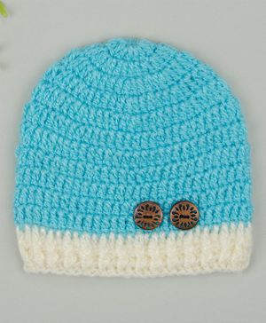 Buttercup from KnittingNani Cap With Wooden Buttons - Light Blue
