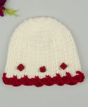 Buttercup from KnittingNani Little Flower Applique Frill Cap - Off White