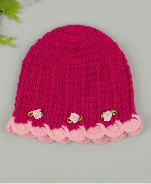 Buttercup from KnittingNani Little Flower Applique Frill Cap - Pink