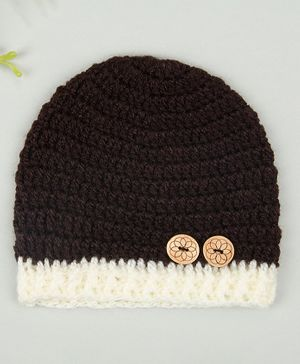 Buttercup from KnittingNani Cap With Wooden Buttons - Brown