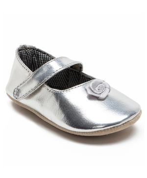 Beanz Flower Detailed Velcro Closure Booties - Silver