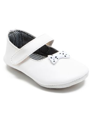 Beanz Bow Detailed Velcro Closure Booties - White