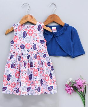 Babyhug Frock With Full Sleeves Jacket Floral Print - Royal Blue
