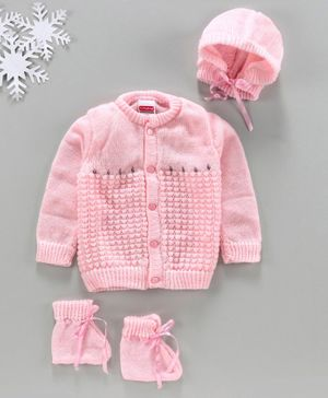 Babyhug Full Sleeves Sweater With Cap & Booties Self Design - Pink