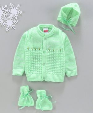 Babyhug Full Sleeves Sweater With Cap & Booties Self Design - Green