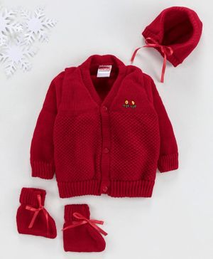 Babyhug Full Sleeves Sweater With Cap & Booties Self Design - Red