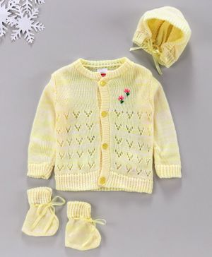 Babyhug Full Sleeves Sweater With Cap & Booties Self Design - Yellow