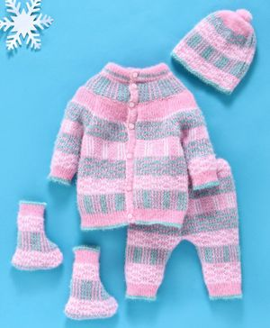 Babyhug 4 Piece Full Sleeves Striped Sweater Set - Pink