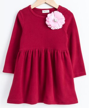 CrayonFlakes Full Sleeves Flower Decorated Dress - Maroon