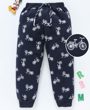 Babyhug Full Length Lounge Pant Bicycle Print - Navy Blue