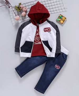 ToffyHouse Winter Wear Full Sleeves Hooded Jacket With Tee & Pant Text Print - Maroon Grey