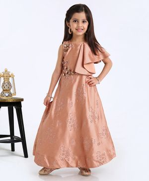 Violet Ruffle Sleeves Ethnic Dress Floral Motifs - Peach