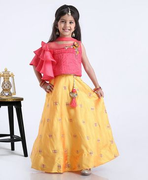 Violet Sleeveless Ruffled Choli With Lehenga & Dupatta Floral Embroidered - Pink Yellow