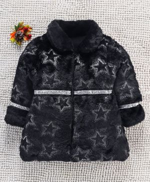 Little Kangaroos Full Sleeves Taffeta Winter Jacket Star Design - Black