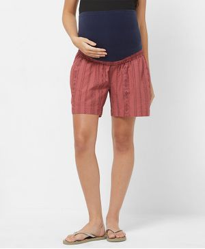Mystere Paris Maternity Tribal Print Shorts - Pink
