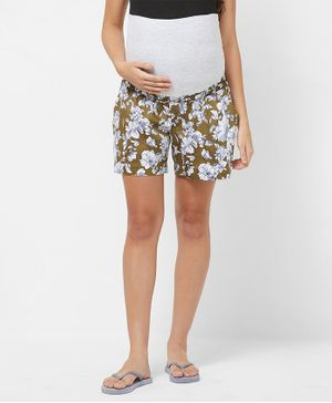 Mystere Paris Maternity Floral Print Shorts - Green