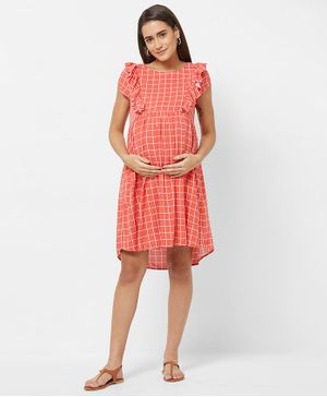 Mystere Paris Cap Sleeves Maternity Checked Dress - Peach