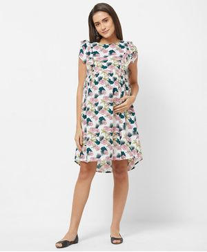 Mystere Paris Cap Sleeves Maternity Floral Print Dress - White