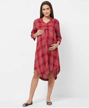 Mystere Paris Three Fourth Sleeves Maternity Checked Dress  - Red