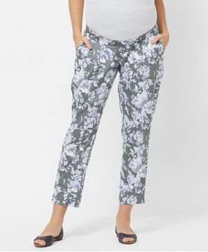 Mystere Paris Maternity Floral Print Full Length Pants - Grey