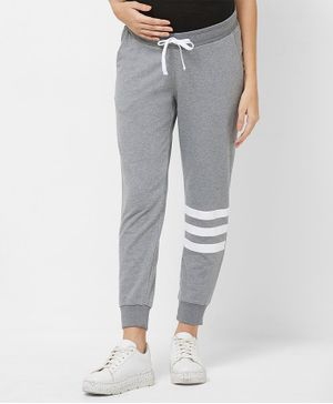 Mystere Paris Full Length Knee Striped Lounge Pants - Grey