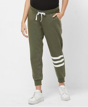 Mystere Paris Full Length Knee Striped Lounge Pants - Green