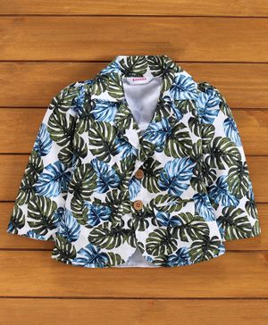 Rassha Full Sleeves Tropical Leaves Print Blazer - Green