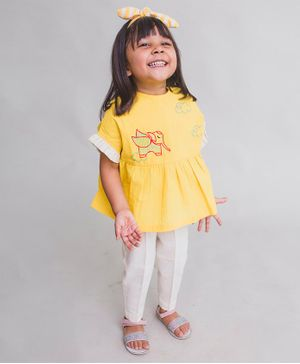 Tiber Taber Elephant Embroidered Half Sleeves Top With Pants - Yellow & White