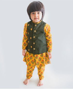 Tiber Taber Flowers Printed Full Sleeves Kurta With Jacket & Pyjama  - Yellow