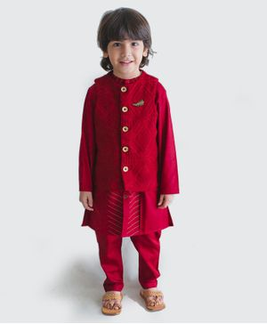 Tiber Taber Full Sleeves Kurta With Crochet Jacket & Pyjama - Maroon