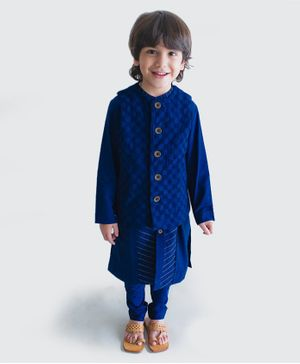 Tiber Taber Full Sleeves Kurta With Crochet Jacket & Pyjama - Blue