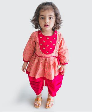 Tiber Taber Heart Embellished Full Sleeves Angrakha With Dhoti - Pink
