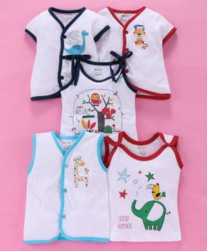 Ohms 100% Cotton Half Sleeves & Sleeveless Printed Vests Pack of 5 - White