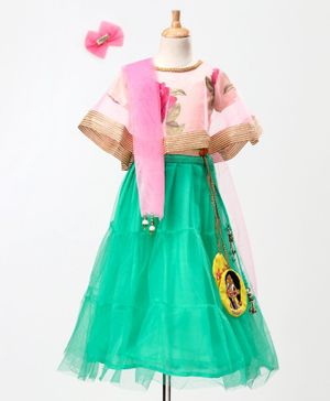 Chhota Bheem By Green Gold Rose Print Half Sleeves Cape Choli With Chutki Character Patch Detailed Lehenga & Dupatta With Bow Hair Clip - Turquoise & Pink