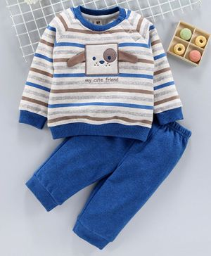 ToffyHouse Winter Wear Full Sleeves Tee & Trouser Dog Patch - White Blue