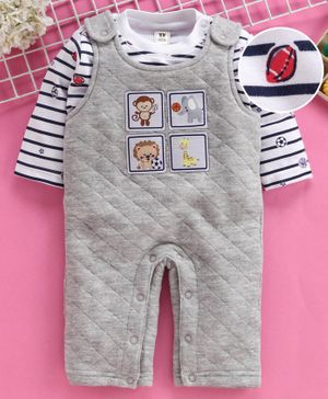 ToffyHouse Winter Wear Romper With Full Sleeves Striped Inner Tee Animal Patch - Grey