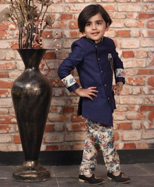 Fourfolds Full Sleeves Sherwani With Floral Print Pyjama - Blue