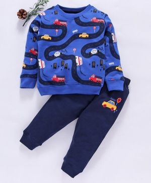 Cucumber Full Sleeves Tee & Lounge Pant Car Print - Blue