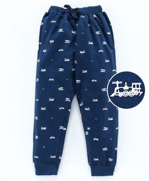 Fido Full Length Lounge Pant Train Print - Blue