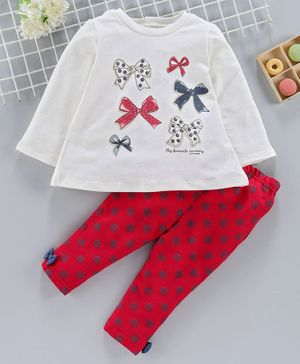 ToffyHouse Full Sleeves Top & Lounge Pant Set Bow Print - Red White