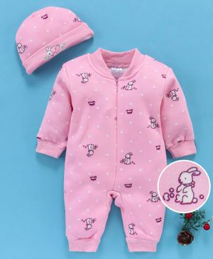 MFM Full Sleeves Romper With Cap Bunny Print - Pink