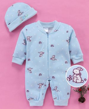 MFM Full Sleeves Romper With Cap Bunny Print - Blue