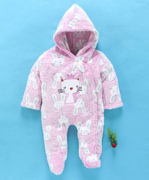 MFM Full Sleeves Hooded Romper Kitty Patch - Light Pink