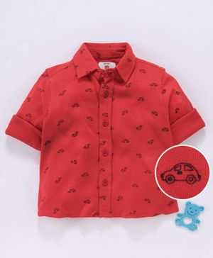 Bodycare Full Sleeves Shirt Car Print - Red
