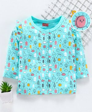 Babyhug Full Sleeves Vest Scenery Print - Blue