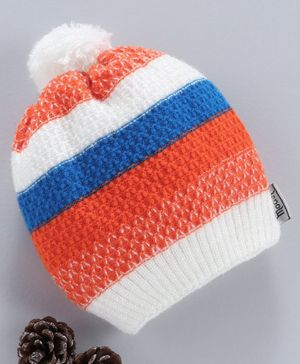 Model Woollen Cap With Pom Pom Detail - Orange Blue